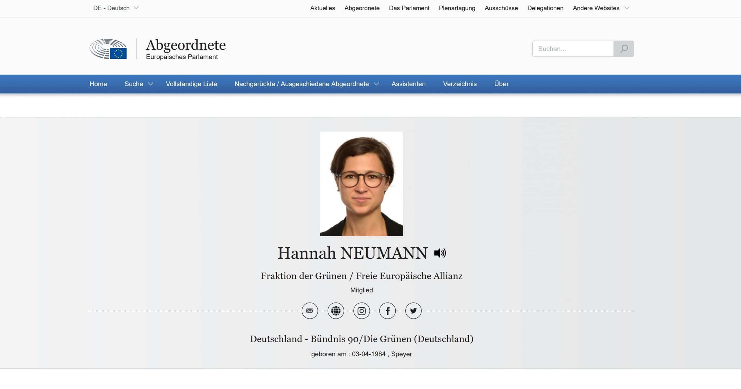 Hannahs Seite des Europaparlaments