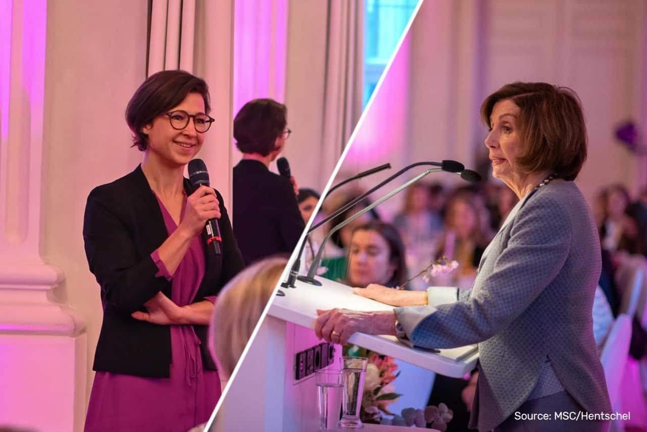 Beim Women's Breakfast: Hannah Neumann im Austausch mit der US-Kongressabgeordneten Nancy Pelosi