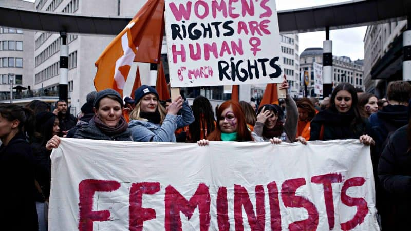 Women demanding feminist human rights during protest