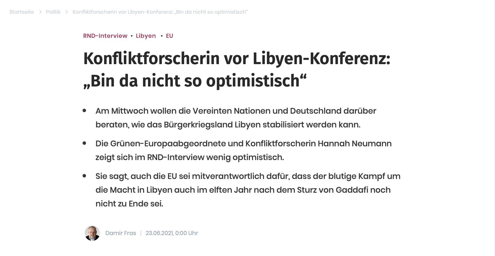 2. Libyen-Konferenz in Berlin zur Stabilisierung des Landes: Ich bin wenig optimistisch – die Gründe dafür im Interview mit dem RND